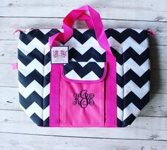 MONOGRAMMED NAVY CHEVRON COOLER TOTE Navy Chevron, Monograms, Personalized Gifts, Life, Style, Blue Chevron, Swag, Customized Gifts, Monogram