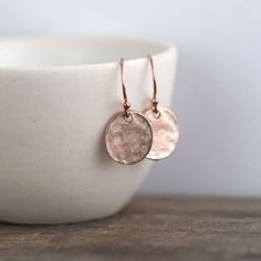 Little Discs Rose Gold Earrings / Small Rose Gold Jewelry / Pink Gold Dangle Earrings