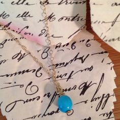 Turquoise bead on solid 14k chain coryboan@gmail.com