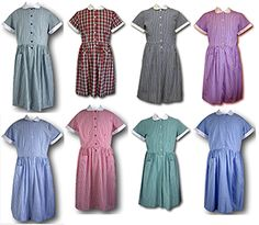 Here you will find a selection of British made, traditional girls school summer dresses in candy stripe and gingham styles. All are available from stock in sizes from 38