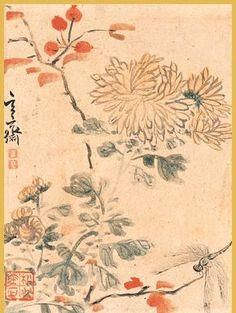 (Korea) 국화와 잠자리 by Hyeojae Shim Sa-jeong (1707-1769). ca 18th century CE. Joseon Kingdom, Korea. color on paper.