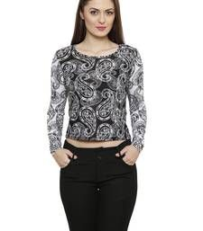 Buy Black Poly Cotton Printed Poly Cotton tops top online