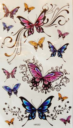 Colorful Butterflies Temporary Tattoos