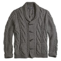 Brooks Brothers Handknit Shawl Collar Cable Cardigan ($498) ❤ liked on Polyvore featuring mens, men's clothing, men's sweaters and sweaters
