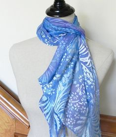 Hand dyed Devore satin silk scarf shades of by RosyDaysScarves