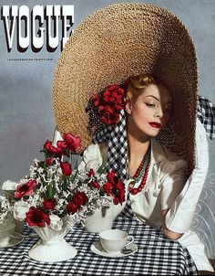 1938 Helen Bennett in large straw hat, cover photo by Horst, Vogue,