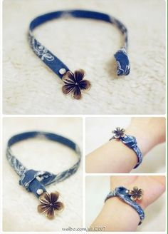 love the simplicity and the blue fabric. Perfect timing, too, because I've b… - DIY Schmuck Denim Bracelet, Fabric Bracelets, Jewelry Bracelets, Jewelery, Button Bracelet, Ankle Bracelets, Textile Jewelry, Fabric Jewelry, Beaded Jewelry