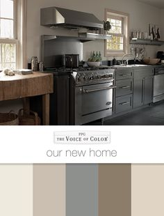 Paint Color Palette: Our New Home - Paint Color Trends & Collections For DIYers & Professional Painters Shades Of Grey Paint, Grey Paint Colors, Paint Colors For Home, Painted Gray Cabinets, Grey Cabinets, Trending Paint Colors, Ppg Paint, Paint Color Palettes, Interior House Colors