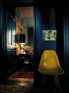 Abigail Ahern - dark blue and yellow http://cimmermann.co.uk/blog/blogs-favourites/