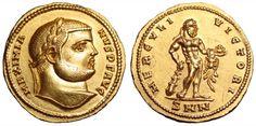 Description:  Maximianus Herculius AV Aureus. Nicomedia, AD 294. MAXIMIANVS P F AVG, laureate bust right / HERCVLI VICTORI, Hercules standing facing, head right, holding club and apples, lion skin draped over left arm; SMN in ex. RIC 3; Depeyrot p. 119, 2/2; cf. Calicó 4646. 5.36g, 20mm, 1h.     Good Extremely Fine. Very Rare.
