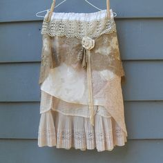 Upcycled vintage linens skirt