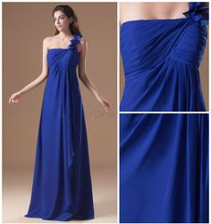 A-line One-shoulder Backless 3D-flower Pleated Dropped Draped Floor-length Chiffon Dress