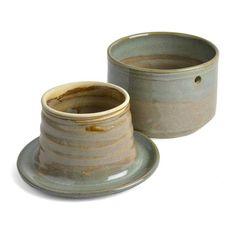 Holman Pottery French Butter Crock - The Barrington Garage Sand Crafts, Seashell Crafts, Resin Crafts, Ceramic Pottery, Ceramic Art, Butter Crock, Butter Dish, Butter Bell, Fun Craft