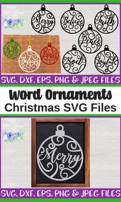 Christmas Word Art Ornaments SVG files for all of your Christmas craft projects like diy home decor, decorating tumblers and onesies, monogramming everything and more! Use your Cricut or SIlhouette to make vinyl decals and handmade cards! Christmas Craft Projects, Diy Craft Projects, Diy Crafts, Christmas Words, Christmas Svg, Christmas Movies, Cricut Christmas Cards, Handmade Home, Handmade Cards