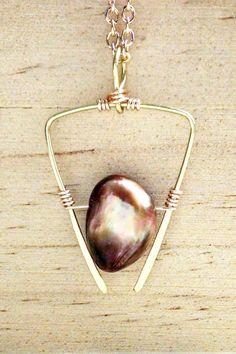 geometric design - rustic luxe minimal necklace - earthy elegant baroque pearl G Y P S Y  G R R L