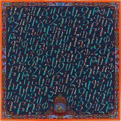"Lettres d'Erevan Hermes cashmere and silk shawl, 55"" x 55"" (70% cashmere, 30% silk) Color : navy/duck/orange  Ref. : H242915S 04"