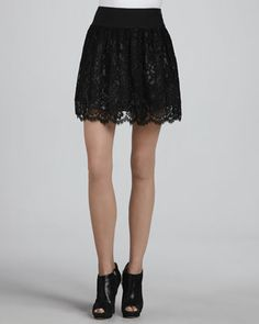 Margaret Black Lace Skirt by Milly at Bergdorf Goodman.