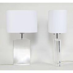 Les Prismatiques Heavy Lucite Table Lamp