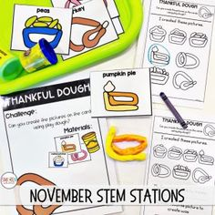 November Thanksgiving STEM activities for kindergarten or first grade