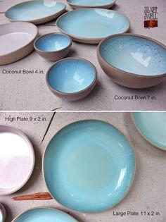 Aqua & Blue Stoneware Plates and Bowls #pottery #ceramics #handmade #glaze…