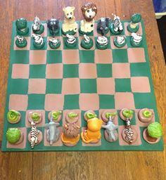 Safari Chess Set using Crayola air dry clay