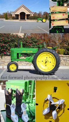 wedding photography country wedding john deer tractor yellow wedding wedding boots
