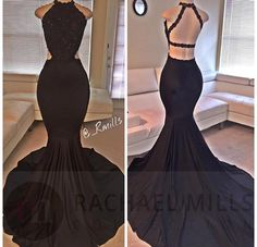 2016 Sexy Black Halter Satin Mermaid Long Prom Dresses Lace Beaded Backless…