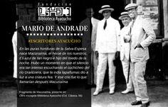 """Mario de Andrade, escritor brasileño parte de los Escritores presentes en Biblioteca Ayacucho, con el libro """"Obra escogida"""""""