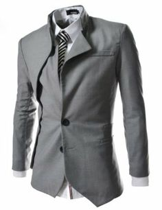 TheLees Mens unbalance 2 button china collar jacket >> just love this!