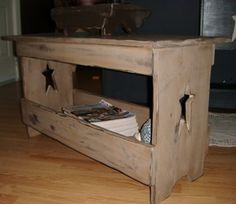 Prim Trough Style Coffee Table Like My page on Facebook to see more of my work  Stars Stitches Primitive Decor