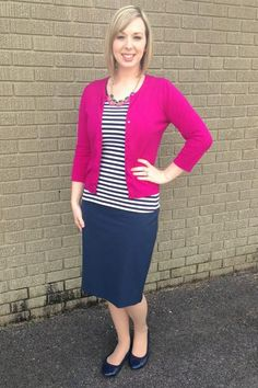 Navy & Pink. Modern Modesty, I think i would choose a lime green top,  but love it