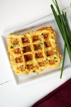 Parsnip chive waffles.  Would be super yummy with some grilled veggies and cashew sauce on top!