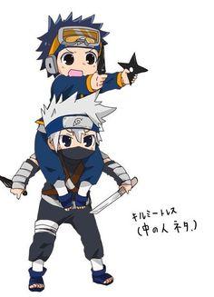 Chibi young Uchiha Obito and Hatake Kakashi Naruto Kakashi, Anime Naruto, Chibi Anime, Naruto Teams, Naruto Cute, Naruto Shippuden Sasuke, Boruto, Manga Anime, Chibi Naruto