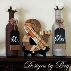 Mr. & Mrs. Decorated Wine Bottle Wedding Set by DesignsbyBry, $39.99