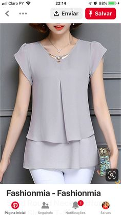 Fashionmia - Fashionmia Solid Round Neck Chiffon Petal Sleeve T-Shirt - AdoreWe. Dress Sewing Patterns, Blouse Patterns, Blouse Designs, Sewing Blouses, Fashion Sewing, Blouse Styles, Mode Style, Blouses For Women, Fashion Dresses