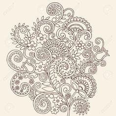 Hand-Drawn Henna Mehndi Tattoo Flowers And Paisley Border Doodle ...