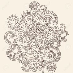 Hand-Drawn Henna Mehndi Tattoo Flowers And Paisley Border Doodle ...