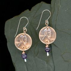 1964 Penny Earrings 50th Birthday Gift 50th Anniversary Gift Amethyst Beads Coin 50th Birthday Gift Uncirculated Coins