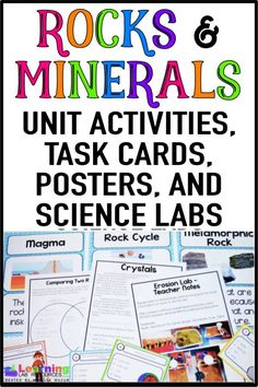 Rocks and Minerals Activities and Anchor Chart