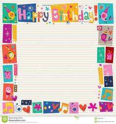 happy birthday decorative border stock vector illustration of border notebook 32682020