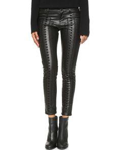 Blank Denim Vegan Leather Embroidered Skinny Pants - Wake Up Call