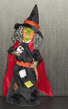 Halloween Animated Witch Holding Broom and Skeleton Head with Lights and Sounds