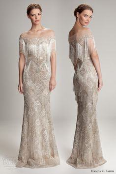 hamda al fahim fall 2012 2013 fringe cape off shoulder gown. wow.
