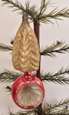Antique German Glass Christmas Ornament - Tree On Indent