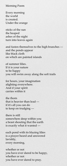 Morning Poem - Mary Oliver; how i love mary oliver. she speaks to me like no other.