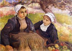 Dwie Bretonki z koszem jabłek