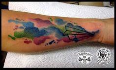 Gestochen mit #ruhrpottirons  #watercolortattoo #papierflieger #eternalink #farbfluttattooworld #tattoo #inked #skinart #Denzlingen #EMMENDINGEN #waldkirch #freiburg #colourtattoo by farbflut_tattoo_world