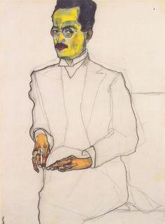 "dappledwithshadow: "" Portrait of a Gentleman, Egon Schiele 1910 """