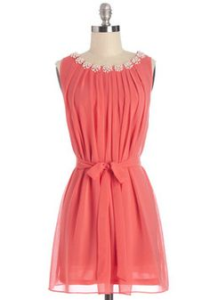 Pop the Question Dress. Once friends catch sight of this bold, coral dress, theyll all be clamoring to find out where its from! #coral #modcloth