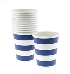 Rugby Stripe Paper Cups - Navy shoptomkat.com
